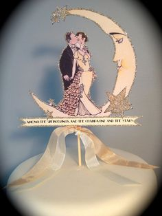 Wedding Cake Topper  Great Gatsby  Crescent by JolieEnRoseVintage, $38.00