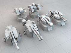 3DOcean Low Poly Sci-Fi Turret Set 6647039