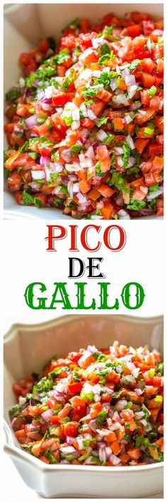 Pico De Gallo - Fresh tomato, cilantro, onion, and jalapeno make the best salsa ever. All clean eating ingredients are used for this healthy salsa recipe. Vegetarian Recipes, Cooking Recipes, Healthy Recipes, Best Food Recipes, Freezer Recipes, Cooking Bacon, Freezer Cooking, Cooking Tips, Appetizer Recipes
