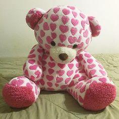 "Pink Hearts Teddy Bear 2014 Animal Adventure Large 28"" Stuffed Plush Animal"