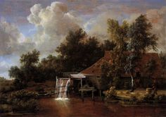 Meindert Hobbema, A Watermill, c.1666, oil on panel, 61 x 85 cm, Rijksmuseum, Amsterdam. Source  The Dutch artist Meindert Hobbema trained under Jacob van Ruisdael. The two artists painted many watermills together, and even went on a excursion together across the Dutch provinces of Gelderland and Twenthe to paint these structures.