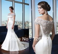 White Plus Size Cap Sleeves with Short Sleeves Satin Buttons Elegant New Arrival with Crystals Wedding Dress 2014 Mermaid