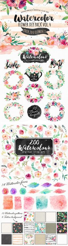 This is a big watercolor collection containing over 200 graphic elements. Diy Invitations, Wedding Invitation Cards, Invitation Design, Wedding Cards, Diy Wedding, Invites, Frases Good Vibes, Wedding Stationary, Floral Bouquets