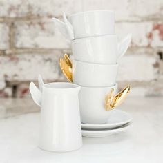 Alada Gold Winged Teacup Set From Estudio Manus Restauration Hardware, Fancy Store, Entertainment Table, Coffee Accessories, Home Gadgets, Coffee Set, Tea Ceremony, Home Decor Inspiration, Decor Ideas