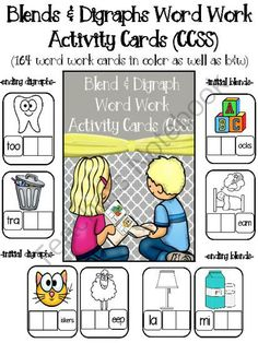 Blends & Digraphs Activity Cards for Word Work (164 cards)