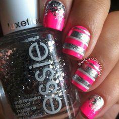 Pink and gray nails