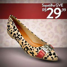 Sapatilha GVE por apenas R$29,99!!  Todo o charme da estampa onça com a impactante cor vermelho.  Compre Online!!!!