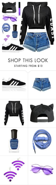"""""""Skater Kitty"""" by bambiwinchester ❤ liked on Polyvore featuring adidas, H&M, Deborah Lippmann, Urbanears, Marina Fini and NARS Cosmetics"""