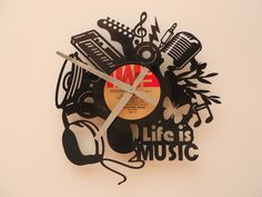 Reloj de Pared Calado en Disco de Vinilo / Laser Cutting Vinyl Disc Wall Clock