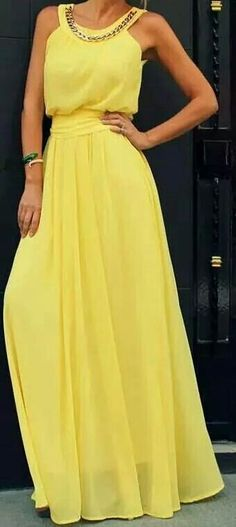 Vestido amarelo yellow maxi dress @roressclothes closet ideas women fashion outfit clothing style