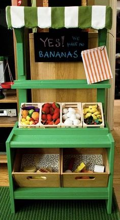 We'll never stop the lovefest for diy play kitchens, but we have a feeling diy play markets are going to be the next big thing - especially after seeing this beauty