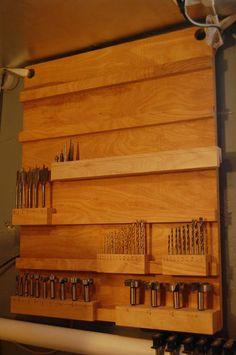 The Drill Bit Rack - http://www.instructables.com/id/The-Drill-Bit-Rack/?ALLSTEPS