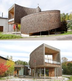 13 Examples Of Modern Houses With Wooden Shingles // These shingles curve around this spiral-shaped house in Finland. Cedar Shingle Siding, Cedar Shingles, Unusual Buildings, Modern Buildings, Contemporary Architecture, Architecture Design, Green Architecture, Modern Prefab Homes, Modern Architects