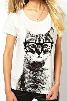 ROMWE | ROMWE Cat Print White T-shirt, The Latest Street Fashion
