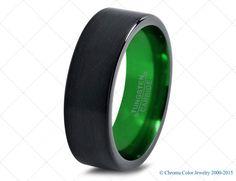 Mens Wedding Band,Black Green Tungsten Ring,Black Wedding Bands,Colored Rings,4mm,6mm,7mm,9mm,12mm,Size,Womens,Matching,Her,Set,Anniversary