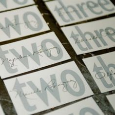 cute place cards with table numbers