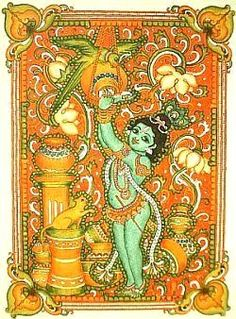 Kerala Mural krishna the butterthief in indian folk art style Kalamkari Painting, Madhubani Painting, Krishna Painting, Traditional Paintings, Traditional Art, Kerala Mural Painting, Worli Painting, Fabric Painting, Color Symbolism