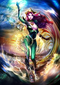 She's my favorite character in Aquaman. As Arthur's movie was settled, I could not wait to know who will act Mera. Mera in the sea Archie Comics, Mera Dc Comics, Heros Comics, Arte Dc Comics, Dc Comics Art, Comics Girls, Dc Heroes, Comic Book Heroes, Comic Books Art