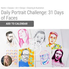 31 Portraits in 31 Days! I'll be teaching you how to draw a portrait using basic skills using pencils, pens, markers, ink , watercolour and Gouache. Click on the image to start you free trail over at The Creative Bug website!