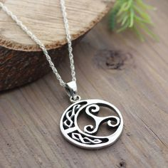 Sterling silver Triskelion Celtic Knot Necklace, Celtic Jewelry, Gifts for Athletes, Popular Pendant for neutralize harmful energy