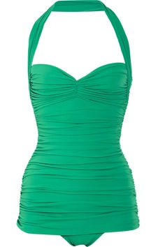 NORMA KAMALI  Bill ruched halterneck swimsuit.  EXCLUSIVE TO NET-A-PORTER.COM  $350