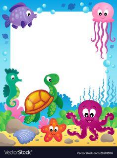 Underwater Theme, Underwater Animals, Kids Background, Cartoon Background, Sea Crafts, Paper Crafts, Birthday Graph, Letterhead Paper, Cartoon Sea Animals