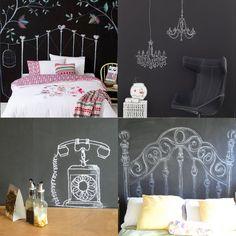 tinta lousa desenhos parede inspiração móveis objetos decorativos lustres