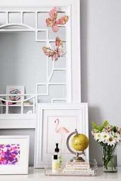 small shop big girl room, cute bohemian, dresser, mirror, butterflies, flamingo (photo by @Sabra Lattos)