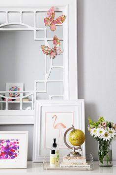 small shop big girl room, cute bohemian, dresser, mirror, butterflies, flamingo (photo by @Sabra McKibbon McKibbon McKibbon Lattos)