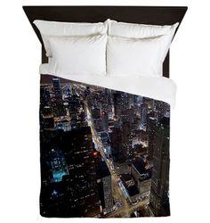 Chicago city skyline at night Queen Duvet