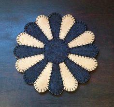 Primitive wool penny rug Dresden plate Votive mat