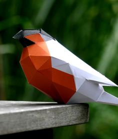 Paper low-poly bullfinch bird DIY