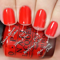 OPI Fashion A Bow Comparison | Holiday 2014 Gwen Stefani Collection Comparisons | Peachy Polish #red