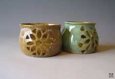 Luminary - Pottery Candle Jar - Hand Carved - Candle Holder - Mandala - Tea Light - Votive