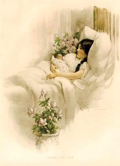 """Bessie Pease Gutmann, Illustrator, Anne's birth announcement cards that never got sent. """"Dreams Come True"""", circa Mother Art, Mother And Child, Mothers Day Cards, Mothers Love, Vintage Pictures, Vintage Images, Vintage Artwork, Vintage Cards, Bessie Pease Gutmann"""