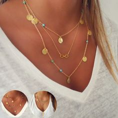 Multilayer beaded necklaces available in gold and silver.