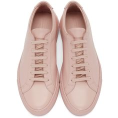 Woman by Common Projects Pink Original Achilles Sneakers ($460) ❤ liked on Polyvore featuring shoes, sneakers, common projects shoes, low profile shoes, laced up shoes, round toe sneakers and pink trainers