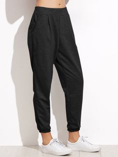 Sporty Plain Tapered/Carrot and Sweatpant Regular Drawstring Waist Mid Waist Black Crop Length Elastic Waist Tapered Leg Pants Pantalon Long, Sweatpants Outfit, Type Of Pants, Pants For Women, Clothes For Women, Mode Hijab, Jogger Pants, Joggers, Women's Pants