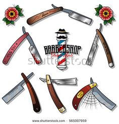 Vector Straight Razors Set Barbershop Stickers Traditional Tattoo Designs