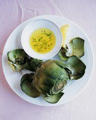 Steamed Artichokes | Martha Stewart.  Use lemon garlic aioli for dipping, a family favorite.