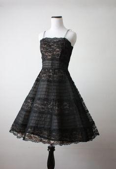 vintage 1950s black lace illusion dress