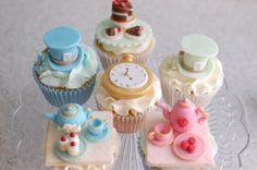 Vintage Alice In Wonderland Baby Shower Cupcakes.