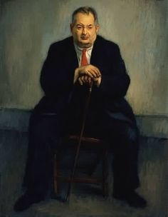 Portrait of Joseph Stella 1940 by Raphael Soyer (Russian/American 1899-1987)....Joseph Stella(1877-1946) was an Italian-born American Futurist painter best known for his depictions of industrial America, especially his images of the Brooklyn Bridge.....a monument...
