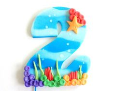 Ready for Shipping Bubble Guppies Ocean inspired Number Fondant Cake Topper