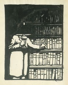 """""""Le Bibliophile"""" by Félix Édouard Vallotton, 1911, lead pencil, brush and China ink on white vellum, 32,5 x 25,5 cm. Collection of Jean Bonna, Genève."""