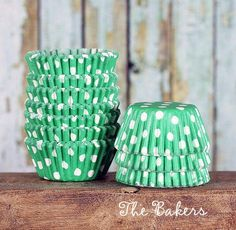 Mini green cupcake liners in polka dot print are perfect for baking mini cupcakes, muffins and more! These mini cupcake liners can add a splash of color to any
