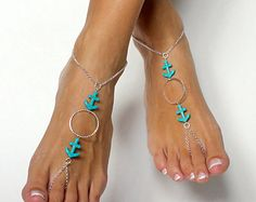 New to BareSandals on Etsy: Aqua Anchor and Silver Chain Barefoot Sandals Wedding Sandals Foot Jewelry Nautical Jewelry USD) Ankle Jewelry, Ankle Bracelets, Barefoot Sandals Wedding, Wedding Shoes, Beaded Sandals, Beaded Jewelry, Anchor Sandals, Collar Hippie, Nautical Jewelry