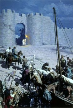 Byzantine Soldiers Sneaking Into Walled City of Nicaea by Tom Lovell.