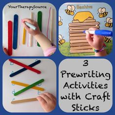 OT Activity of the Week: 3 Pre-Writing Activities Using Craft Sticks - pinned by – Please Visit for all our pediatric therapy pins Writing Activities For Preschoolers, Handwriting Activities, Preschool Writing, Preschool Activities, Motor Activities, Pre Writing, Writing Practice, Craft Stick Crafts, Craft Sticks