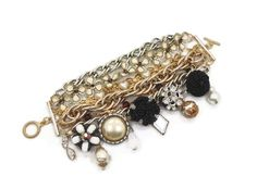 Vintage Bracelet Assemblage - Wide Big Multi-Chain Gold White Black -  InVIntageHeaven